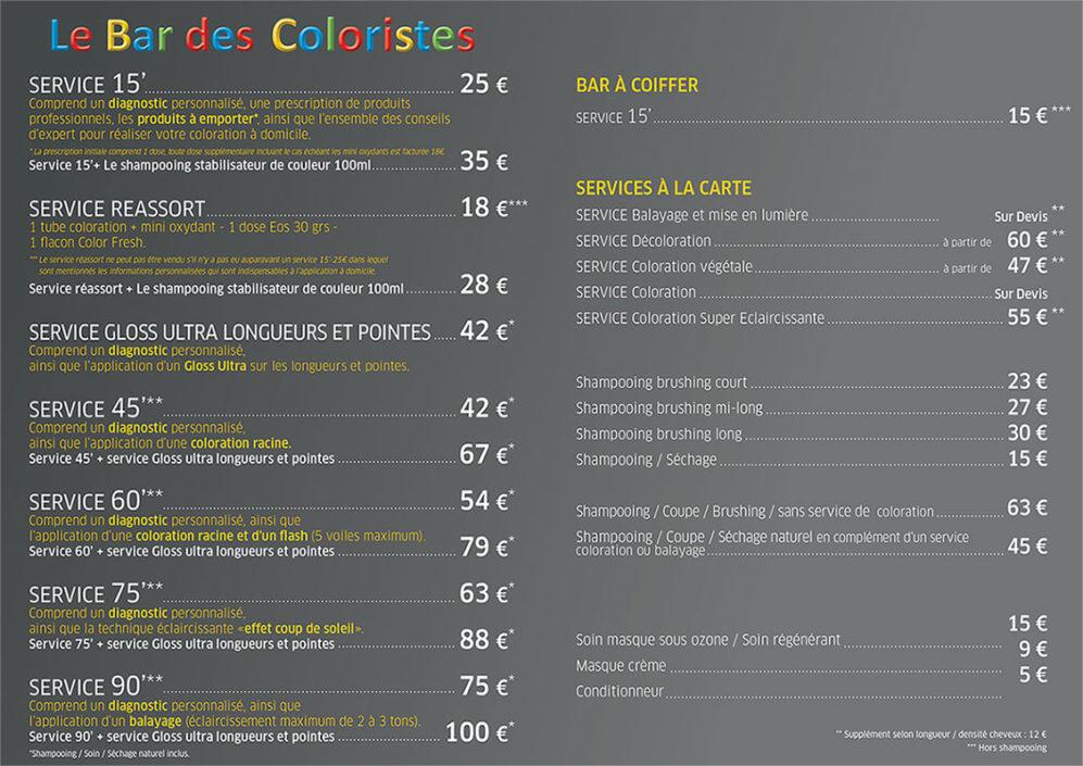 Menu des prix : Le Bar des Coloristes à Arras